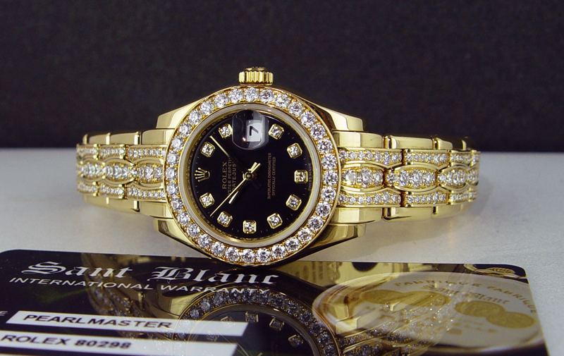 Ladies Rolex Pearlmaster with the Triple Diamond Bracelet