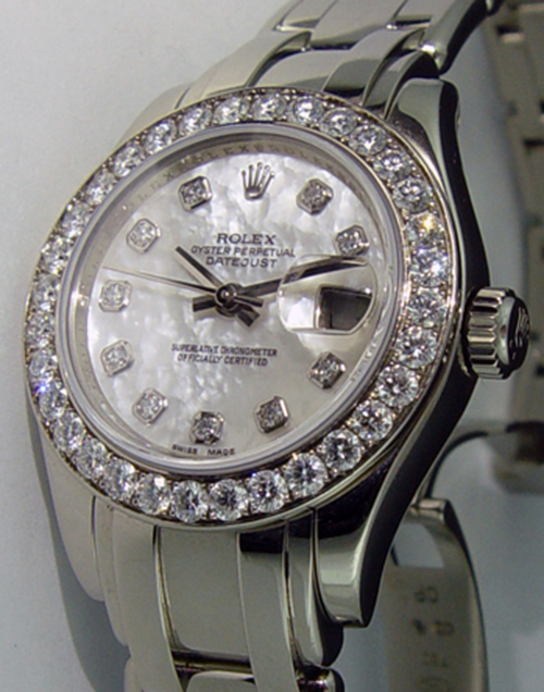 ROLEX - Ladies 18kt White Gold MasterPiece Mother of Pearl Diamond Dial - 80299