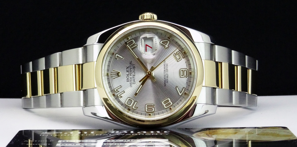 0137e209526 ROLEX - Mens 18kt Gold   SS Datejust - Silver Concentric Arabic Dial -  116203
